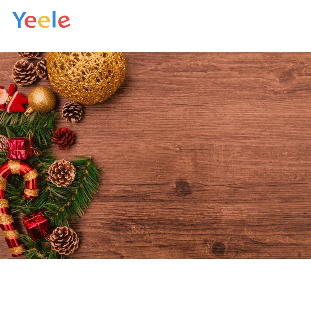 Yeele Christmas Photocall Decor Balls Grunge Wood Photography Backdrop Personalized Photographic Backgrounds For Photo Studio in Background from Consumer Electronics