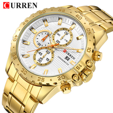 CURREN Golden Male Wrist Watches Business 3 Sub Dials Chronograph Date Function Man's Quartz Watch Steel Strap Relogio Masculino цена