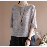 Womens Linen Cotton Dobby Tops T Shirt Tees for Ladies O Neck Loose Big Cute Fashion Casual for Summer 63039