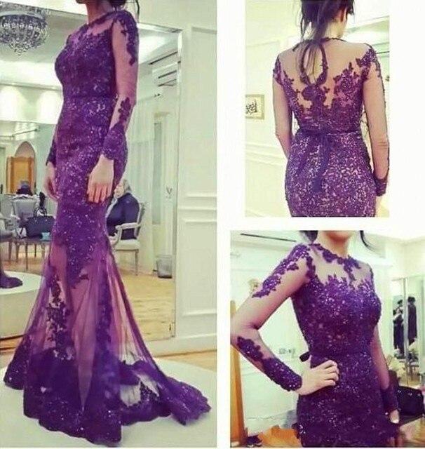 Vestido longo de renda roxo