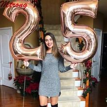 2 pçs 30/40 polegada rosa ouro número folha balões de hélio congratulate18 20 25 30 50 anos de idade adulto festa aniversário decoração suprimentos