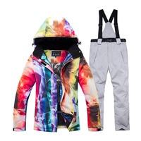 30 Women Snow Wear Clothing Snowboarding suit sets Waterproof Windproof Winter Wear Mountain Ski Jacket and strap Snow pant