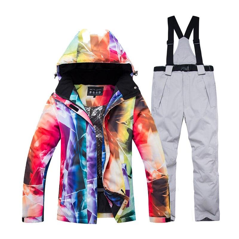 -30 femmes vêtements de neige vêtements combinaison de snowboard ensembles imperméable coupe-vent vêtements d'hiver veste de Ski de montagne et sangle pantalon de neige