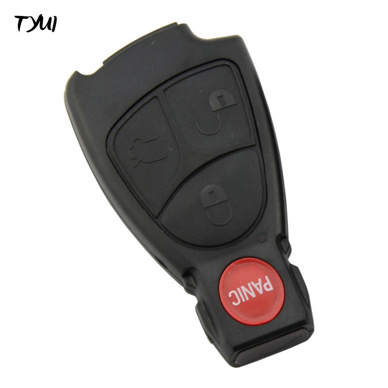 TYUI 3+Panic Buttons Car Smart Remote Keyless Shells Fob Key Replacements For Benz Key