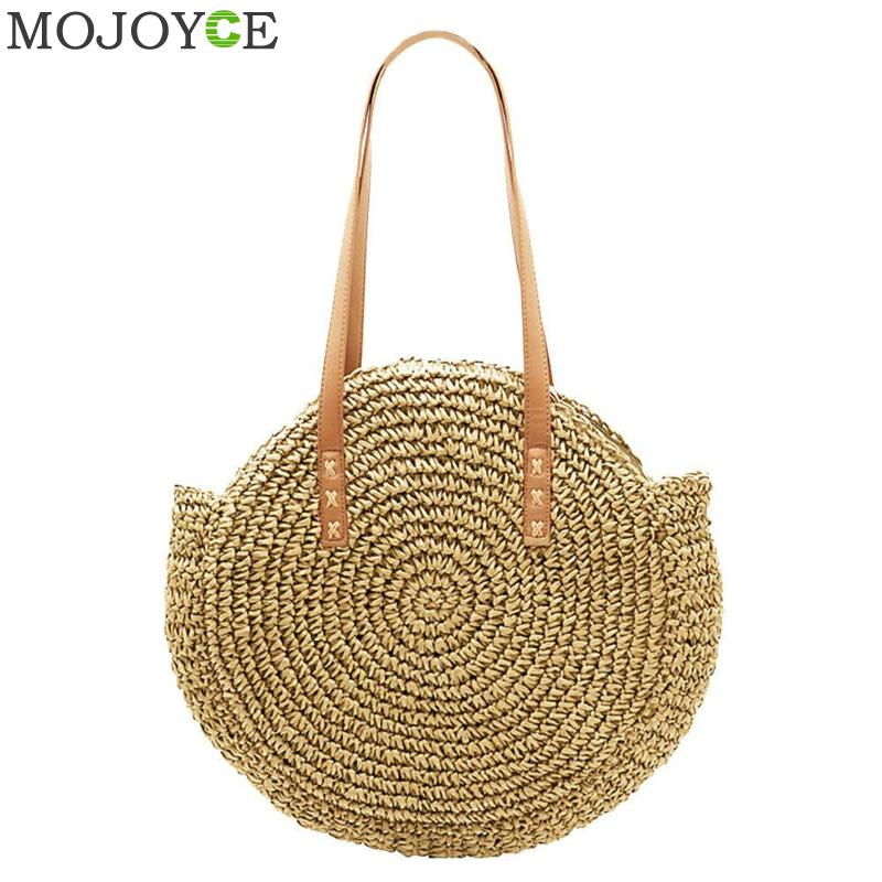 цена Portable Natural Ladies Tote Large Handbag Handwoven Big Straw Bag Round Popularity Straw Women Shoulder Bag Beach Holiday Bag