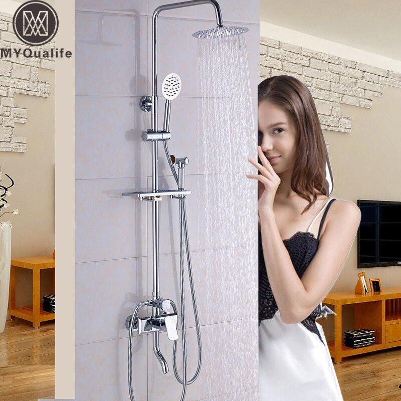 Chrome Single Lever Bathroom Bath Shower Mixer Faucet Single Handle Rain Showerhead Brass Bidet Sprayer 4 Water outlet Functions niko 50pcs chrome single coil pickup screws