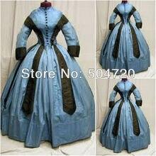 19 Century Blue Civil War Southern Belle Gown Victorian Lolita Dresses/Scarlett Dress US6-26 V-297
