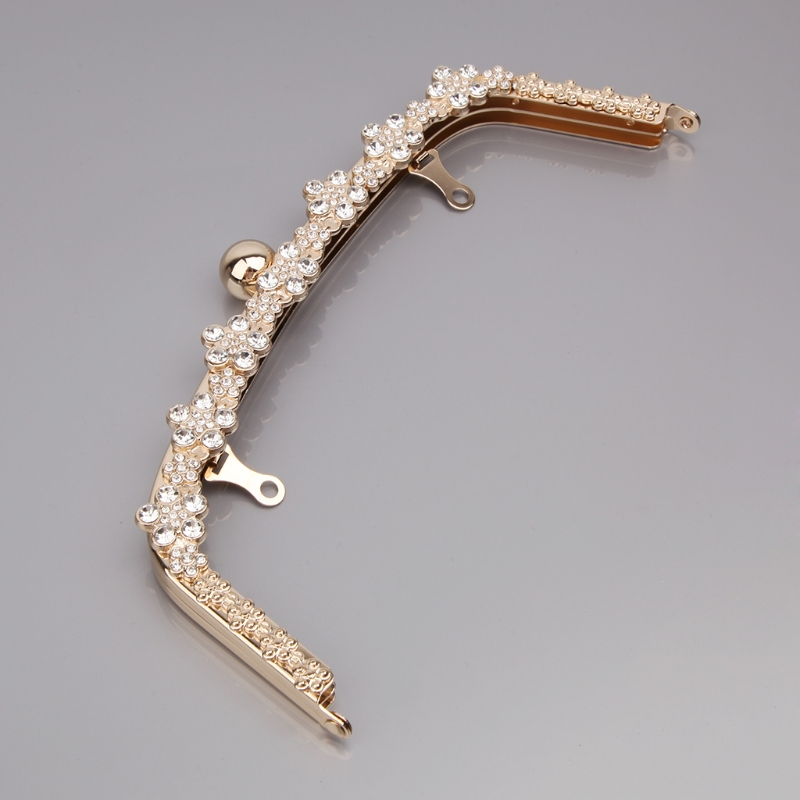NoEnName_Null High Quality Fashion Metal Rhinestone Purse Handle Bag DIY Craft Frame Kiss Clasp Lock 22cm