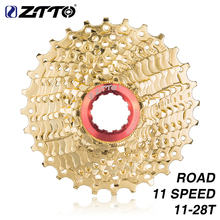 ZTTO Road Bike Cassette 11 Speed 11-28 T Gold s V Sprocket K7 28 Free Wheel for Force UT 105 Rival