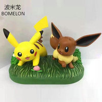 10CM Pikachu Eevee Scene Aciton Figures Puppets Pocket Monster Anime Figure Toys PVC Doll For Children