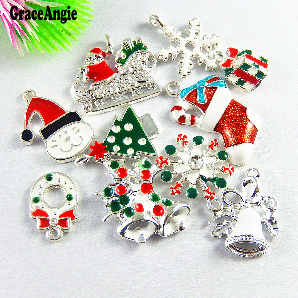 Graceangie 10pcs Mix Christmas Tree Santa Snowman Snowflake Sled Us National Flag Shape Colorful Decoration Jewelry Accessories Handsome Appearance Home & Garden