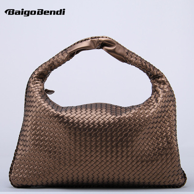 Brand New Celebrity Ladies Woven Leather Handbag Criss-Cross Hobo Dumplings Bag  Women s Knitting Casual Tote a3b977c5f0c6f