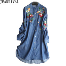 ФОТО vintage floral embroidery denim dress 2018 new summer fashion women long sleeve thin casual shirt dress vestido de festa