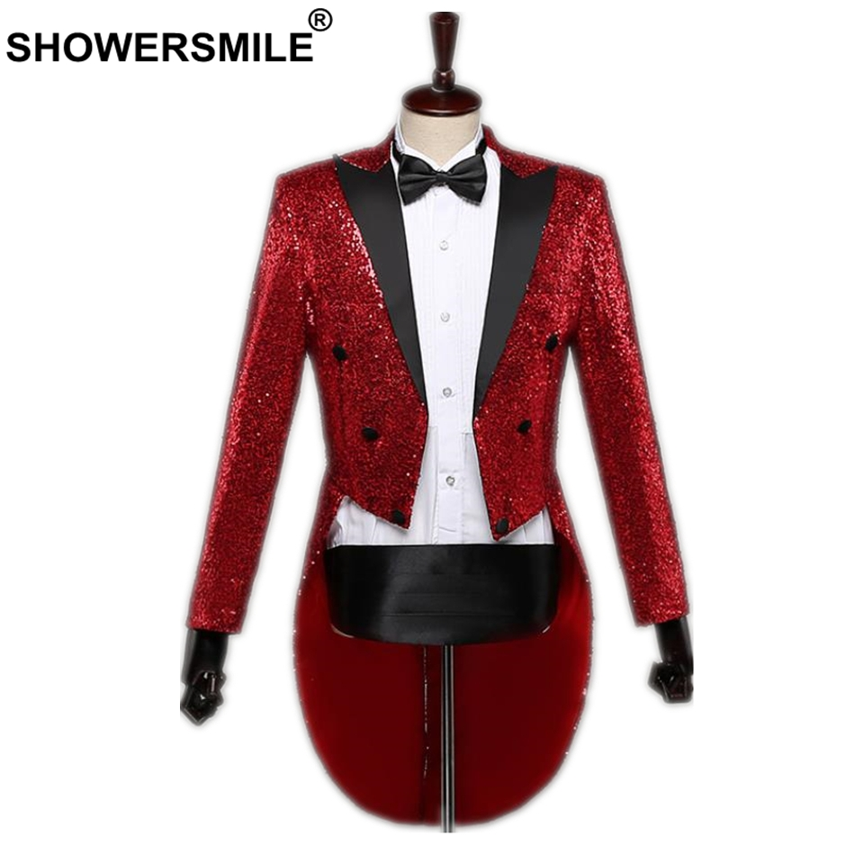SHOWERSMILE Sequin Jacket Long Blazer Men Red Swallow-tailed Coat Stage Singer Magician Suit Brand 3XL Tuxedo