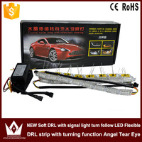 Tcart 2pcs 12V Car LED Daytime Running Light Turn Signal Light Flowing Yellow Steady Yellow Crystal