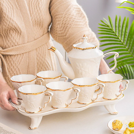 Europäische Keramik Haushalt Tee Tasse Set Einfache Wohnzimmer Wasser Mit Wärme beständig Tee Set Teekanne Kreative Kaffee Becher wasser Tasse - 2