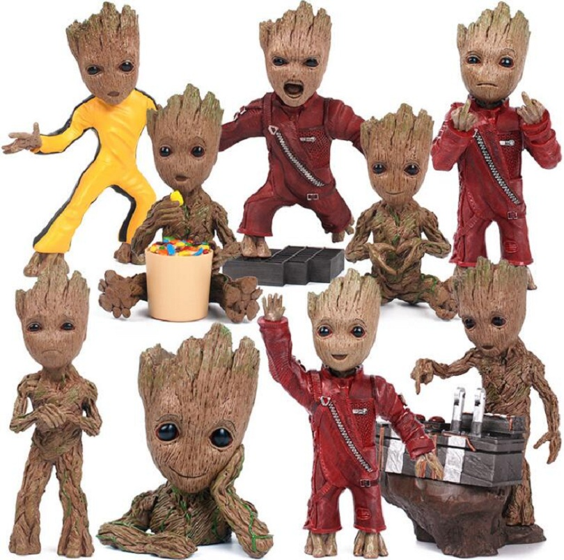 Movie Guardians of the Galaxy 2 DJ Baby Dancing Tree Man Statue Resin Flowerpot Action Figurines Puppet Doll Grunt Grootted Man guardians team up vol 2