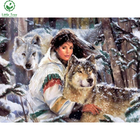 5d Rhinestone Embroidery Indian Wolf Girl Mosaic Pattern 3d Diamond Painting Needlework Wall Decor Drill Picture