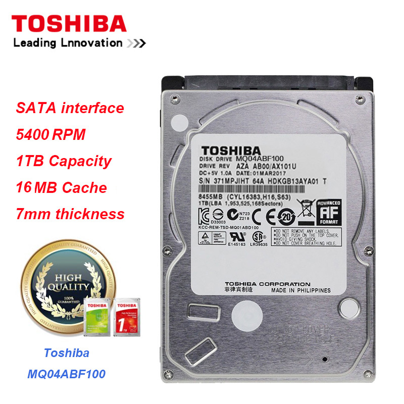 Toshiba 1TB HDD MQ04ABF100 Data Storage SATA3.0 5400RPM 16MB Cache 7mm Thinness 2.5 Internal Hard Drive Disk for Laptop