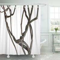 Waterproof Shower Curtain Black Root Twisted Jungle Vines Tree Branches White Clipping Path Brown Liana Branch Extra Long