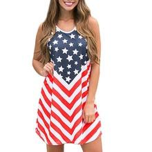 4f4789cfffc4c JAYCOSIN vêtements pour femmes o-cou sans manches épaule dénudée robe dames  décontracté drapeau américain