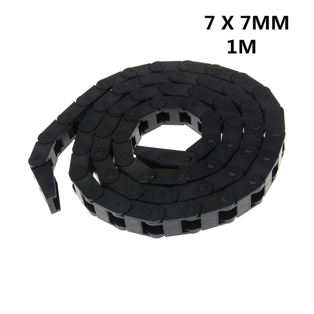 7 x 7mm 7*7mm L1000mm Cable Drag Chain Wire Carrier with End Connectors for CNC Router Machine Tools