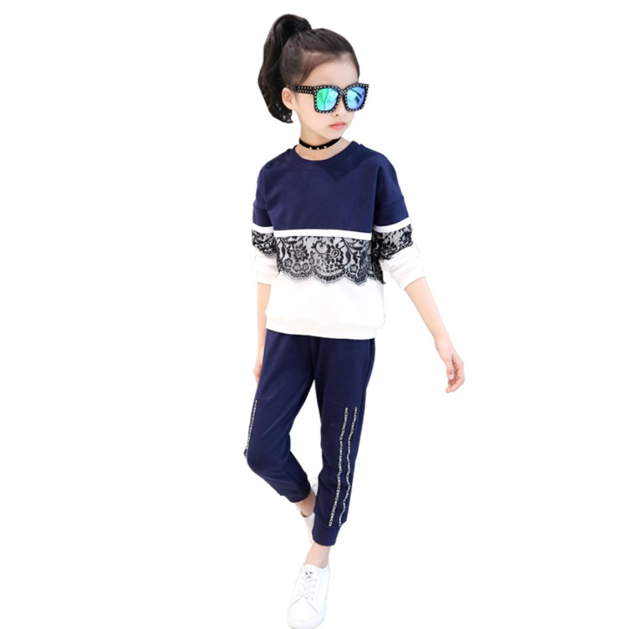 2018 New Summer Girls Clothing Set Lace T-shirt Casual Kids Sport Suits Two Piece Children Tracksuits Spring Kids Teens Clothes
