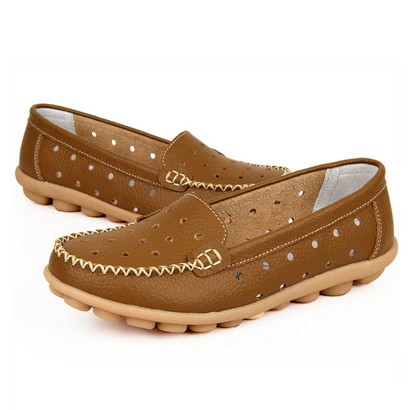 Plardin ใหม่ Plus ขนาด 35-42 ผู้หญิง Cutouts ของแท้หนังรองเท้าสบายเย็บหัวเข็มขัดรองเท้าพยาบาลบัลเล่ต์แบบสบายๆรองเท้า