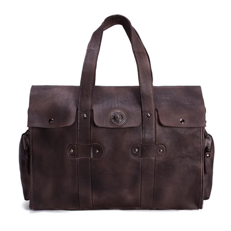 Handmade Vegetable Tanned Leather Tote Bag Travel Bag Overnight Bag 1
