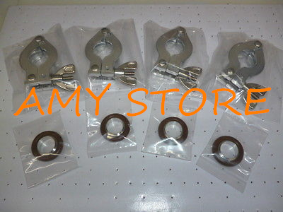 Lot of 4 set KF16 Aluminum Clamp with KF16 Centering Ring S.S vacuum parts XWJ erection ring set package of 4