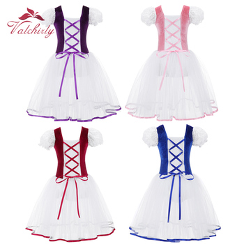 New Professional Girls  Ballet Tutu Dress Velvet Body Mesh Skirt Short Puff Sleeves Kids Dance Gymnastics Leotard Costumes - discount item  20% OFF Stage & Dance Wear