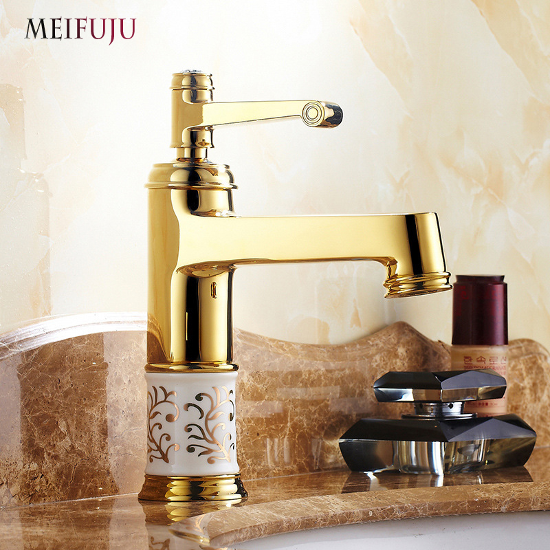 New Luxury Bathroom Basin Gold Faucet Brass Tap Single Handle Hot And Cold Tap Free Shipping Rose Golden Bathroom Sink Mixer super quality pc vibration joypad game controller gamepad usb wired joystick for pc computer laptop
