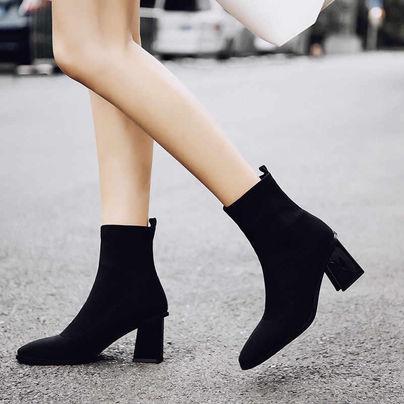 Prova Perfetto/Новинка 2018 года, стильные женские Стрейчевые ботинки, модные женские ботильоны красного и желтого цвета, теплые ботинки с квадратным носком на высоком каблуке