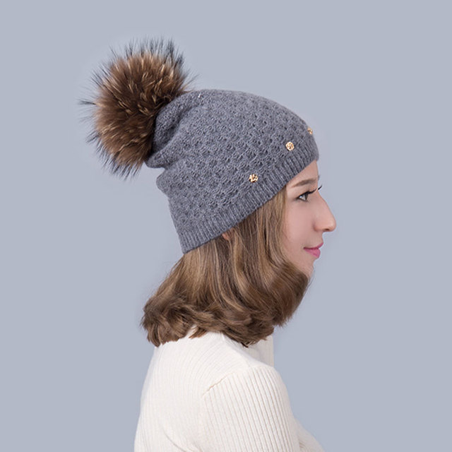680c58550d4 Women  s Hat Wool Female Knitted Fashion Natural raccoon hair big hair ball  Casual Thermal Stretch European Wholesale selling