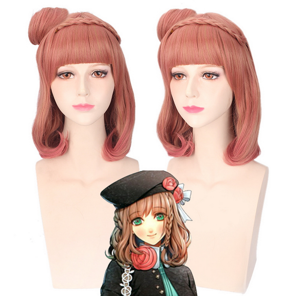 AMNESIA Synthetic Anime Cosplay Wig Pink Ombre Wavy Braiding Hair Halloween Costume Wome ...