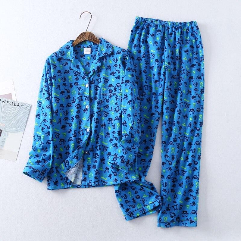 c9c256dc80a Casual blue cute cartoon pajama sets women 100% brushed cotton Sping  fashion sleepwear women homewear sexy pijamas mujer