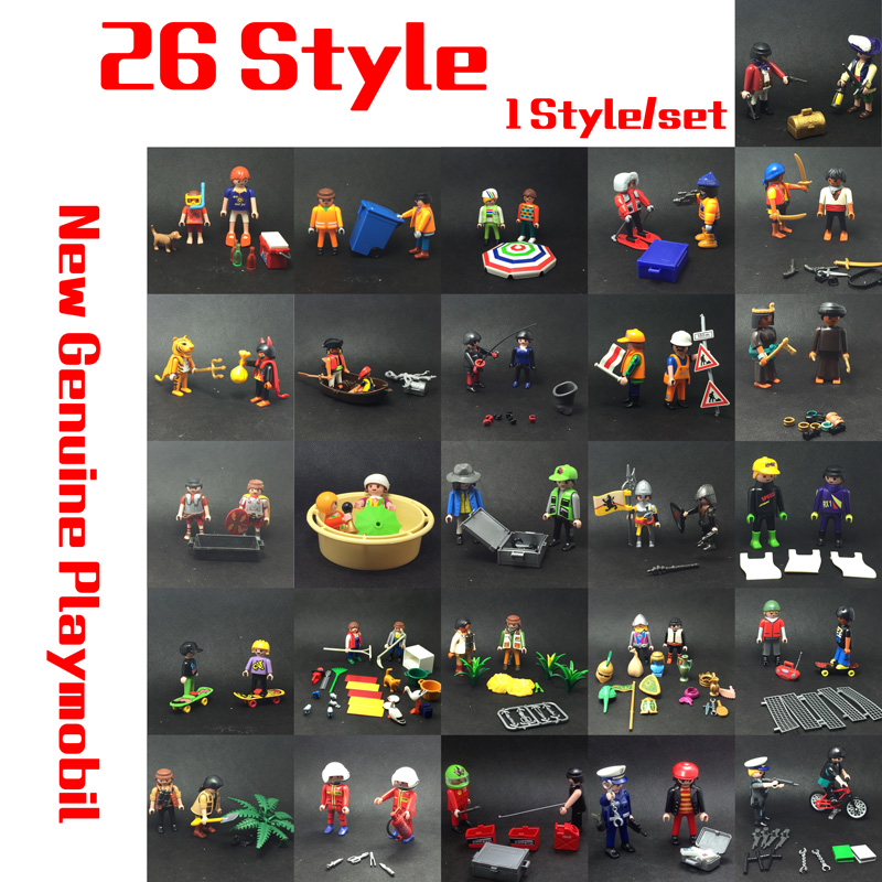 26 Style 7.5cm Action Figure Playmobil Rescue Ambulance Doll Royal Banquet Room Dressing Room Building Block Minifigur Toy Gift