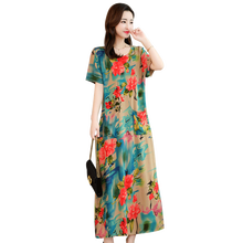 Summer fashion new women's cotton linen printed floral dress women's long dress round neck short-sleeved dress plus size S-6XL