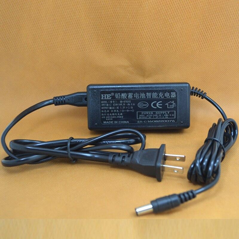 6V Smart Charger GEL Lead Acid Battery Power Supply DC7.2V 2A 5.5X2.1mm For 6V 1.2AH 1.3AH 4AH 4.5AH 5AH 7AH 10AH 12AH 14AH 20AH