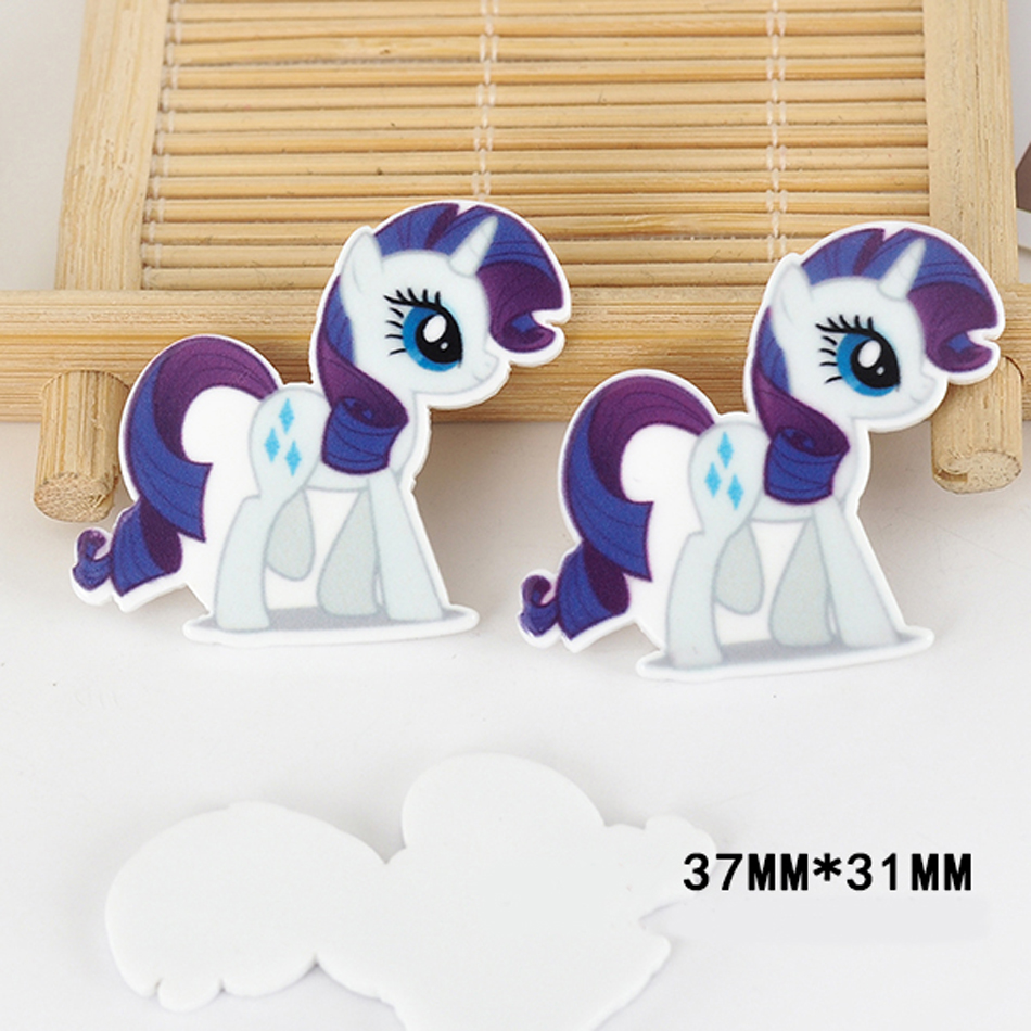 50pcs 37*31MM Kawaii Cartoon Little Horse Pony Flatback Resins Horse Planar Resin Craft for DIY Home & Holiday Decoration DL-565
