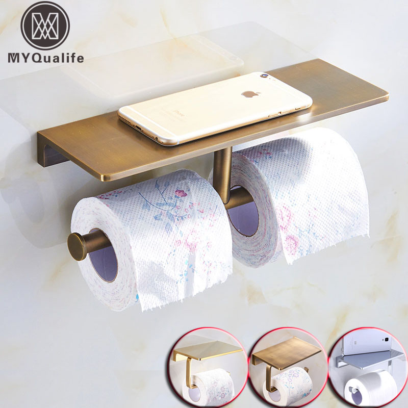 Top Quality Wall Mounted Double Roll Paper Tissue Holder Brass Bathroom Towel Paper Holder Shelf Mobile Tack
