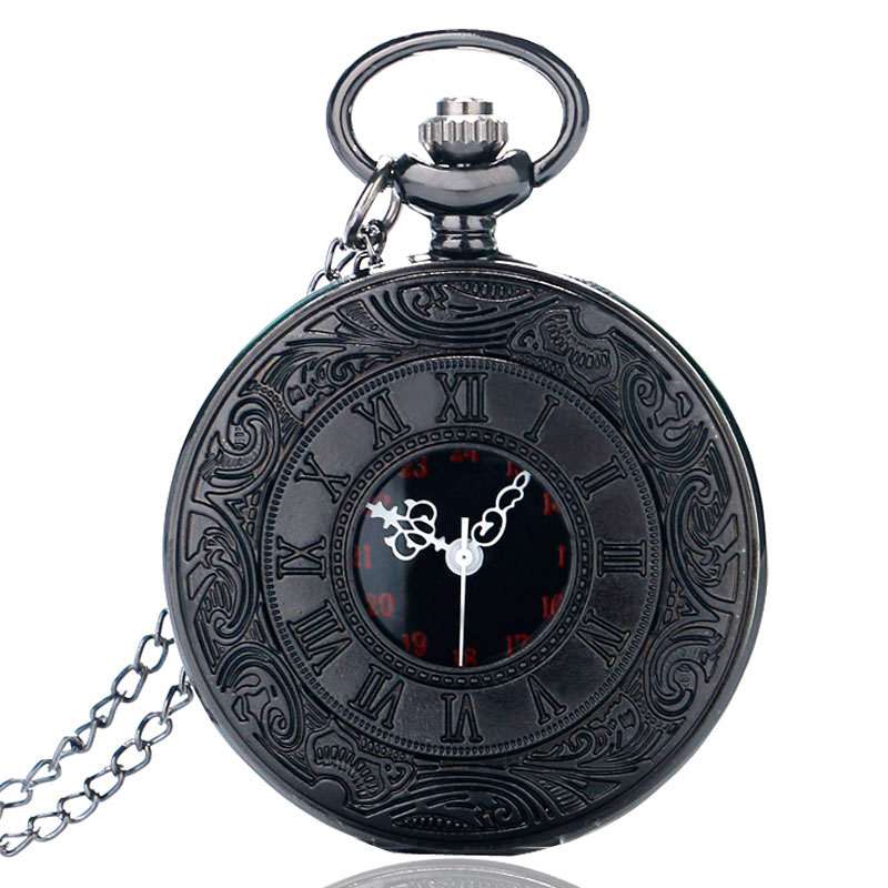 Top Brand Vintage Pocket Watch Men Black Steel Pocket Clock Male Skeleton Sculpture Roman Number Quartz Watch Classical Chain ks retro silver roman number hexagon analog snow hunter chain skeleton mechanical clock jewel male relogio pocket watch ksp101