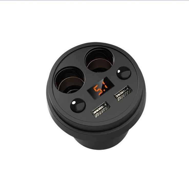 Car USB Cigarette Lighter Socket Splitter 12V-24V Power Adapter Max 5V 3.1A 2 USB Car Charger with Voltmeter LCD