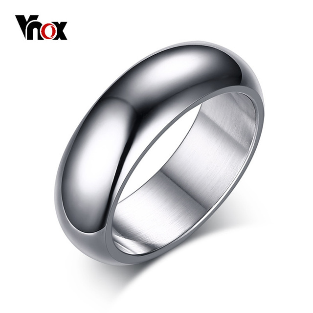 Vnox 7mm Classic Ring For Women Men Arc Surface Stainless Steel Wedding Band Gol