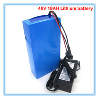 Free shipping 1000W 48V 18.2AH Bicycle battery 750W 48V 18AH Lithium battery use 2600mah 18650 cell 30A BMS 54.6V 2A charger