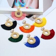 HOCOLE Handmade Tassel Drop Earrings For Women Za Fashion Wooden Rattan Knit Pearl Geometric Statement Dangle Earring Jewelry