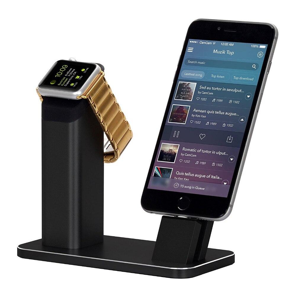 Support de support en Aluminium Base de montage de Station de chargement de Dock pour Apple Watch iPhone 8/7 plus/SE/5 s/6 S/PLUS avec divers boîtiers