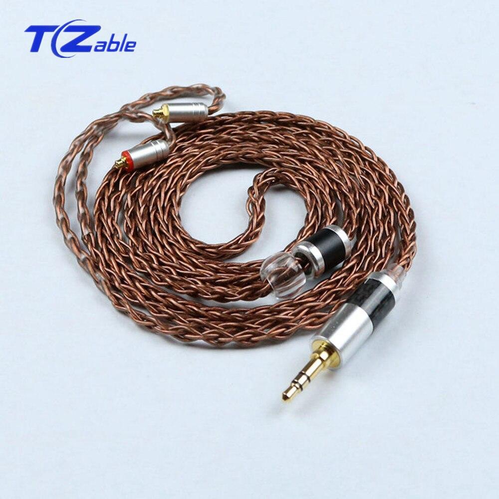 Monocristallin cuivre plaqué argent 3.5MM mâle casque mise à niveau ligne câble Audio Se535 Se846 Hifi fil casque adaptateur