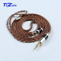 Single Crystal Copper Plated Silver 3.5MM Male Headphone Upgrade Line Audio Cable Se535 Se846 Hifi Wire Headphone Adapter