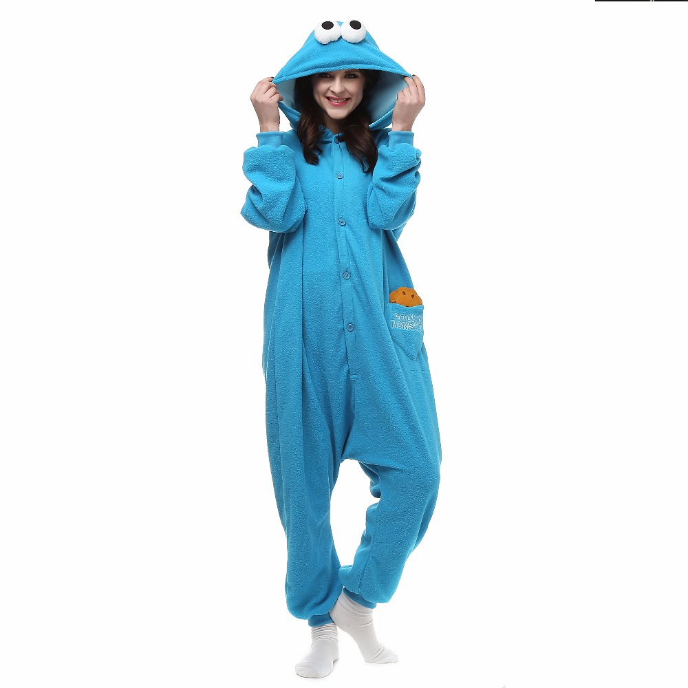 Christmas Halloween Birthday Gift Sesame Street Cookie Fleece Onesie Homewear Hoodie Pajamas Sleepwear Robe For Adults